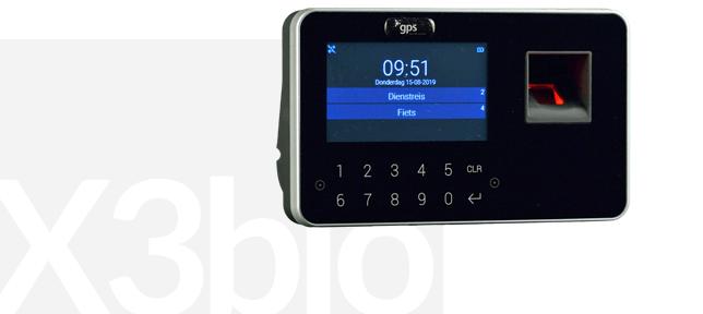 Foto van een prikklok me fingerprint die gekoppeld wordt aan een tijdregistratiesysteem